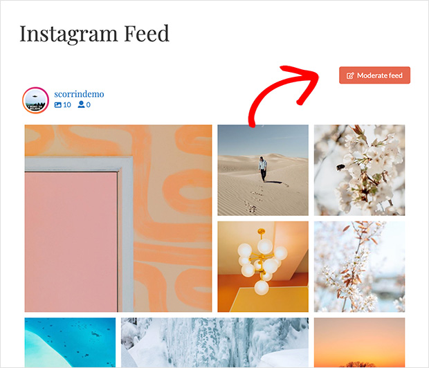moderate instagram feed button