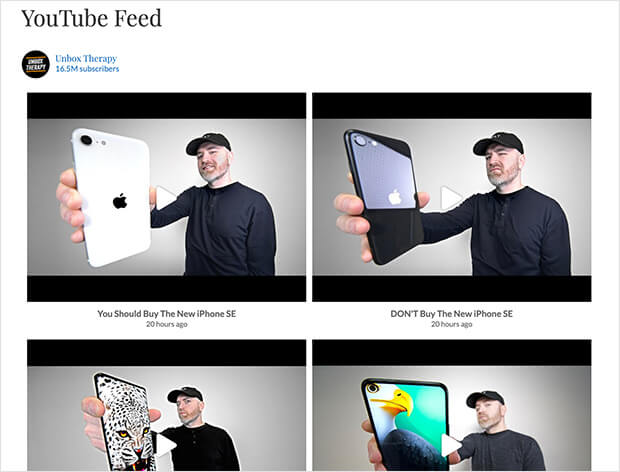 Published youtube feed