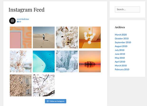 published website instagram feed