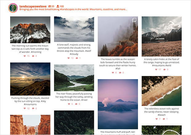 Instagram feed masonry layout on wordpress