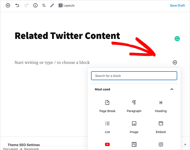 add a new content block to your WordPress post