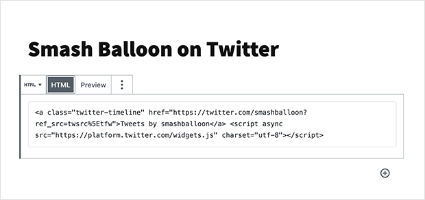 Add twitter feed HTML to WordPress
