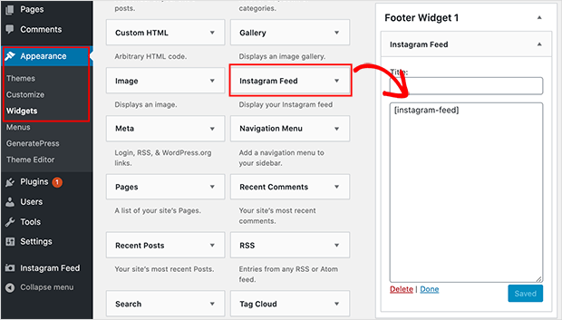Instagram feed footer widget