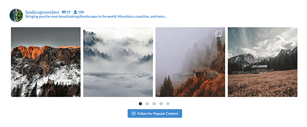 embedded instagram feed on wordpress footer
