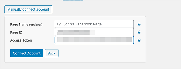 Manually connect a Facebook account