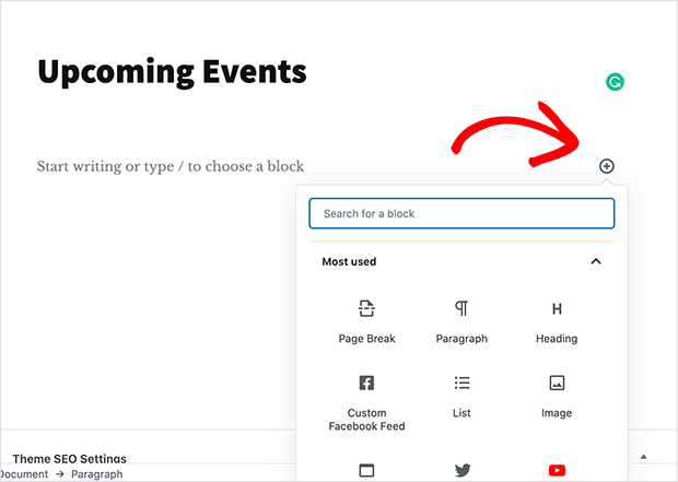 New WordPress content block