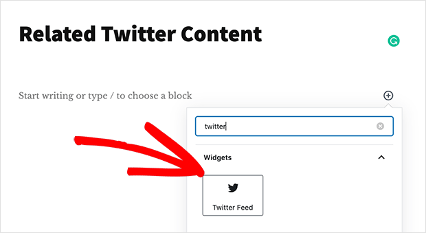 Twitter feed content block