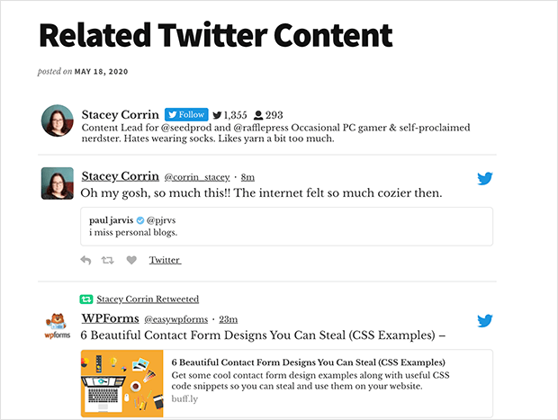Display your Twitter feed in a WordPress post