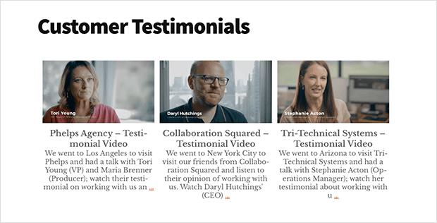 testimonials on website video testimonials youtube