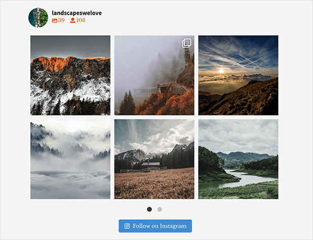 instagram widget wordpress example