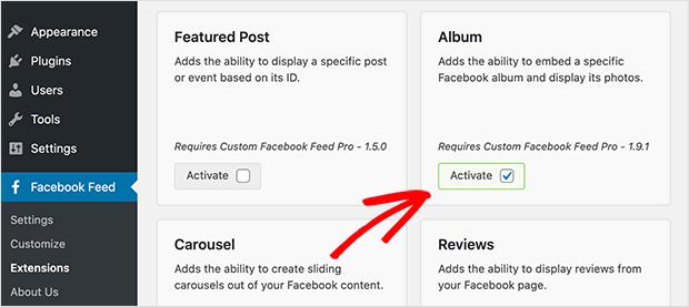 Activate the Facebook feeds Album extension