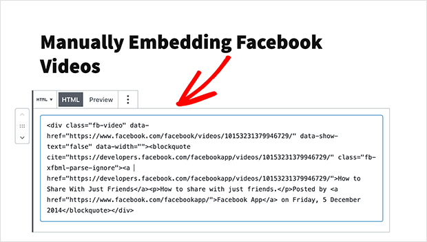 Add the embed code to the custom html block