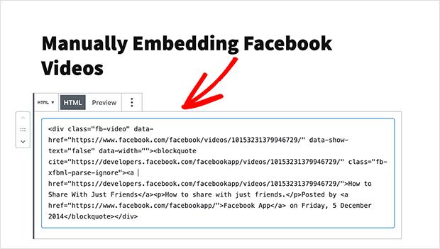 embed facebook video wordpress HTML