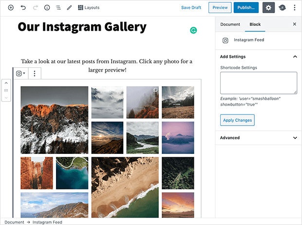 Click to add the Instagram feed to your post