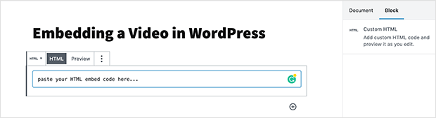 Custom HTML WordPress block