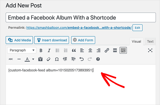 Embed a facebook album in the classic WordPress editor