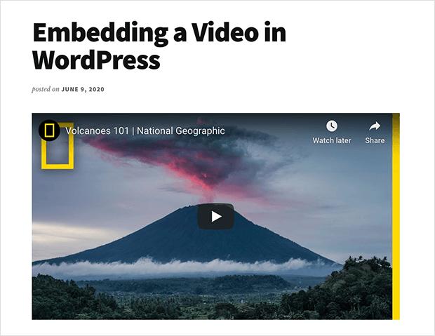 Embedded WordPress video