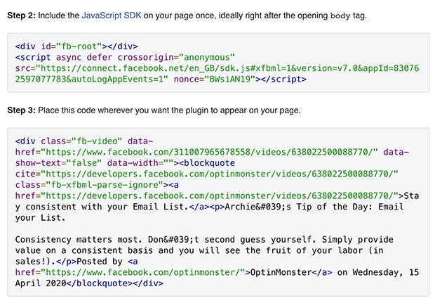 Facebook video player embed codes