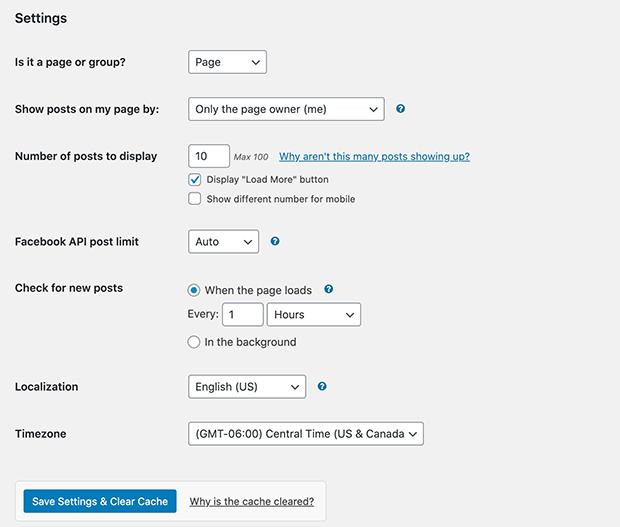 Facebook feed plugin settings