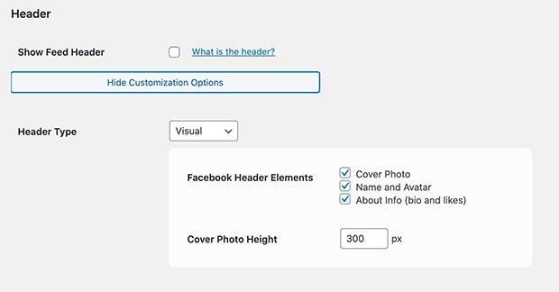 Facebook header options