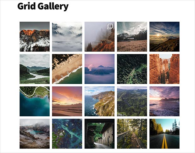 Grid instagram gallery in wordpress