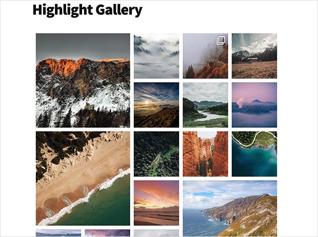 Highlight instagram gallery in wordpress