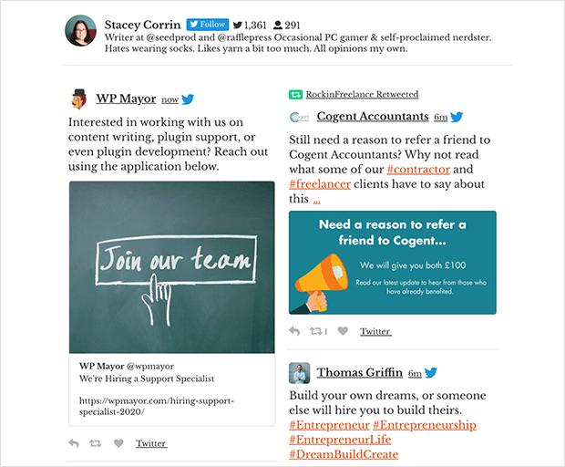custom twitter feed on website home timeline