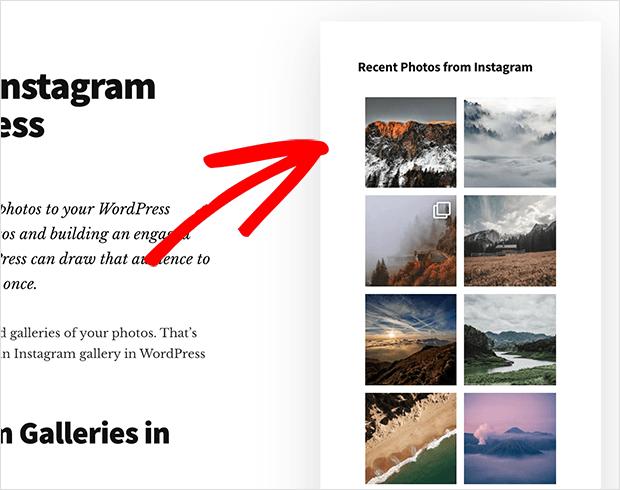 live instagram gallery in the wordpress sidebar