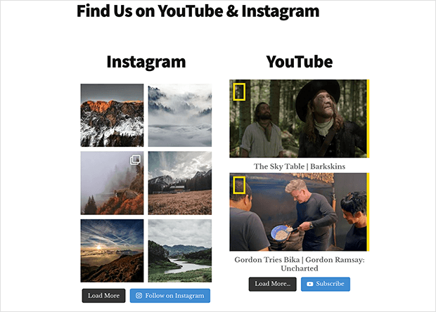 Add an instagram and youtube feed on the same page