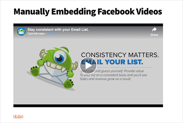 Facebook video manually embedded in WordPress