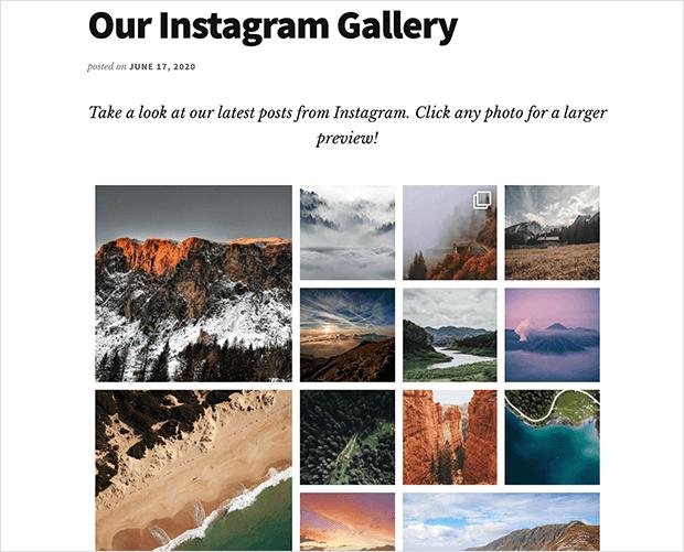 Published Instagram gallery in WordPress
