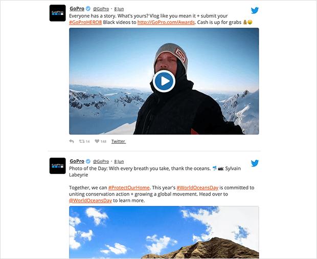 custom twitter feed on website user timeline