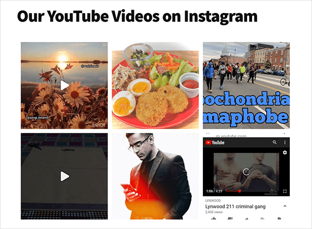 Instagram feed of youtube content