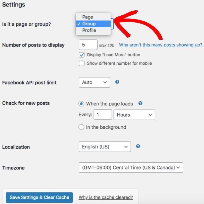 embed facebook group on website choose group