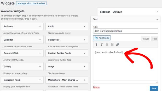 embed facebook group on website widget