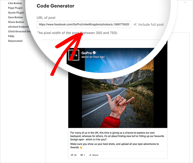 enter your facebook posts URL into code generator