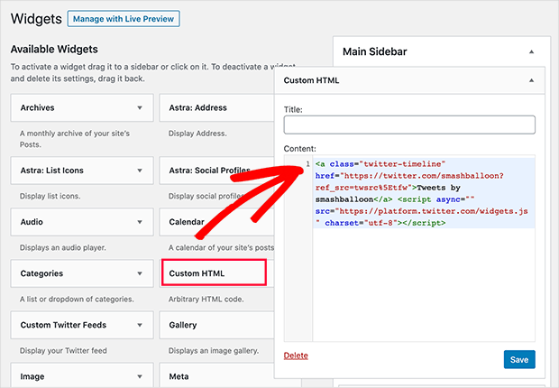 use the custom html widget to add your twitter feed to WordPress sidebars without a plugin