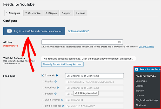 connect to youtube to embed youtube playlist