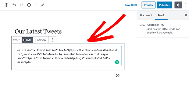 Paste your twitter embed code