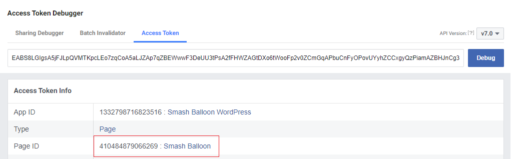Debug Facebook Access Token