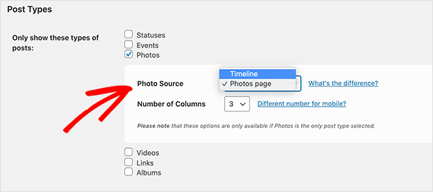 Choose the timeline as your facebook photo source to change your feed layout