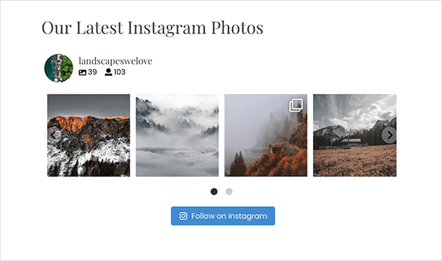 horizontal instagram feed with 1 row and navigation arrows