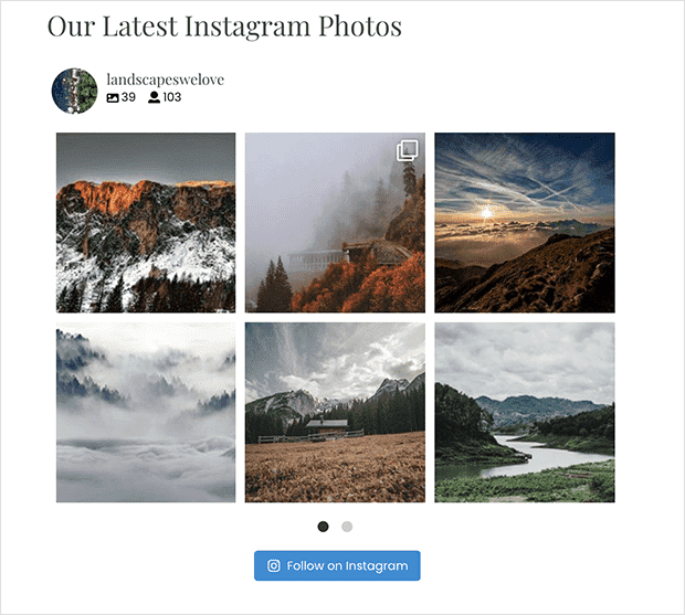 horizontal instagram feed with 2 rows and pagination