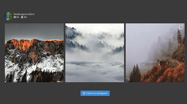 Horizontal instagram feed sidebar widget in WordPress