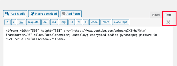Paste your iframe embed code in the Text section of the classic WordPress editor