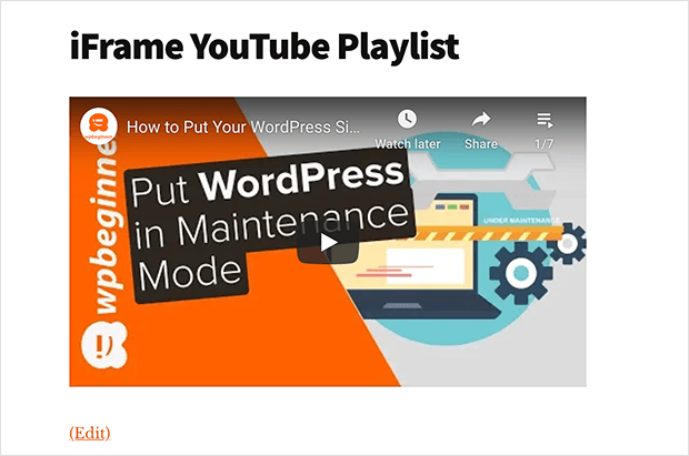 Youtube playlist add to WordPress with the iframe embed code