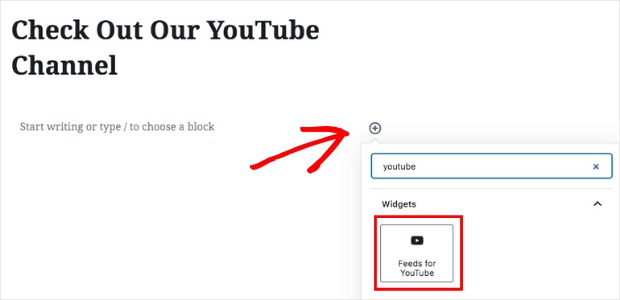 embed youtube channel add youtube block