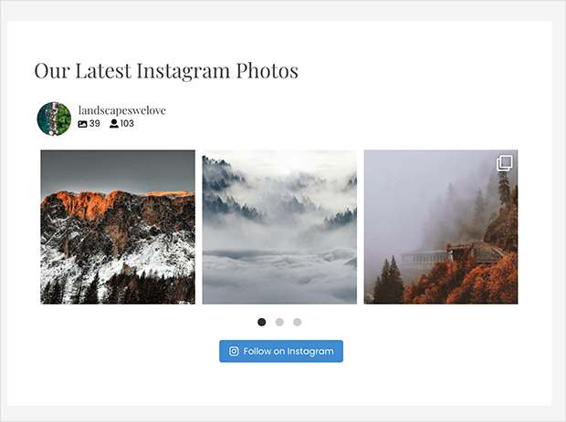 publsihed horizontal instagram feed in WordPress