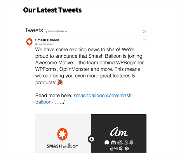 A twitter widget embedded in WordPress using the Twitter Publish method