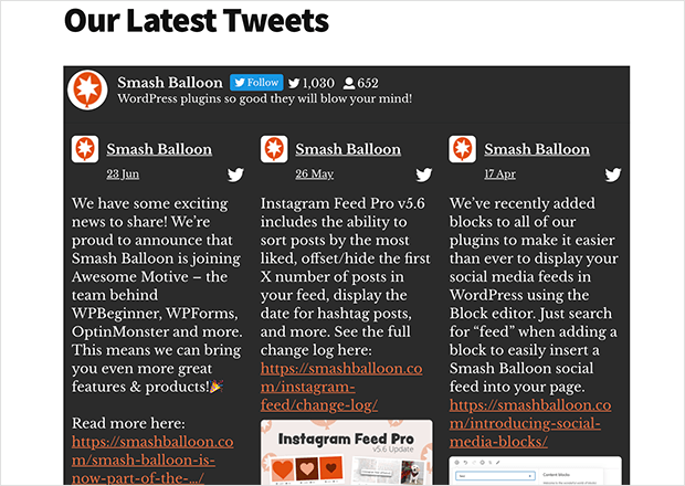 Twitter feed widget embedded in WordPress